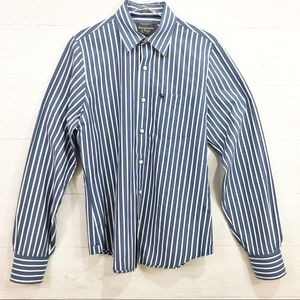 ABERCROMBIE Button Up Muscle Blue Striped L